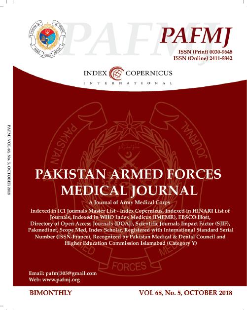 Vol 68 No 5 (2018): October   Pakistan Armed Forces Medical